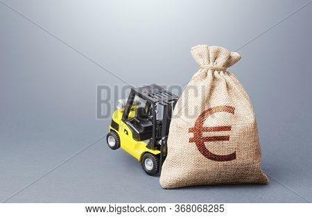 A Forklift Cannot Lift A Euro Money Bag. Strongest Financial Assistance, Support Of Business And Peo
