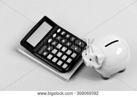 Credit Debt Concept. Economics And Finance. Piggy Bank Pink Pig And Calculator. Business Administrat