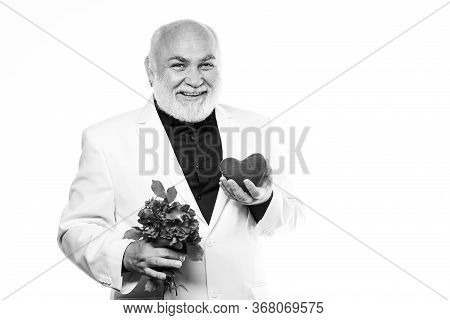 Man Hold Heart Symbol Of Love. Dating Services For Elderly People. Gentleman Concept. True Gentleman