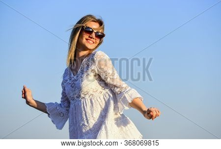Pretty Woman Fashionable Sunglasses Outdoors. Girl Blue Sky Background. Female Health. Emotional Gir