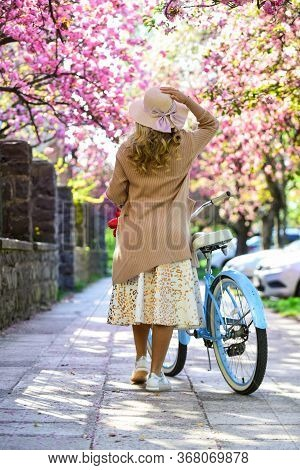 Cycling Tours. Bike Ride Adventure. Urban Excursion. Cherry Tree Blooming. Woman Ride Retro Bicycle.