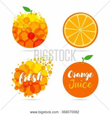 Orange Fruit. Oranges That Are Segmented On A White Background. Fresh Juice Apple, Papaya, Mango Log