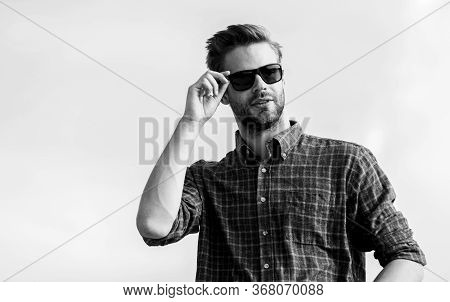 Bearded Guy Casual Style. Sexy Man Sky Background. Men Beauty Sexuality. Male Fashion Style. Looking