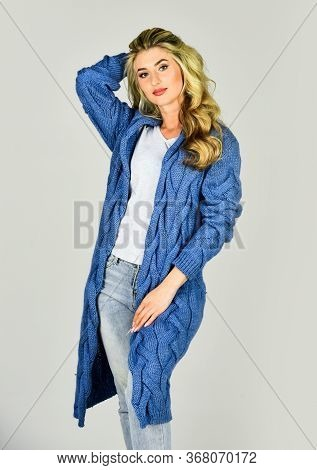 Confident In Her Choice. Fashion And Beauty. Attractive Woman Wear Knitted Cardigan. Elegant In Any