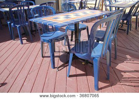 Blue Tiled Tables
