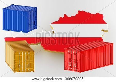 Austria Map Image With Flag. Freight Shipping In Containers. Export From The Country In Containers.