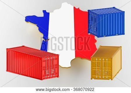 3d Map Of France. Freight Shipping In Containers. Export From The Country In Containers. 3d Renderin