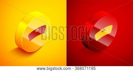 Isometric Windshield Icon Isolated On Orange And Red Background. Circle Button. Vector Illustration