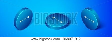 Isometric Barbell Icon Isolated On Blue Background. Muscle Lifting Icon, Fitness Barbell, Gym, Sport