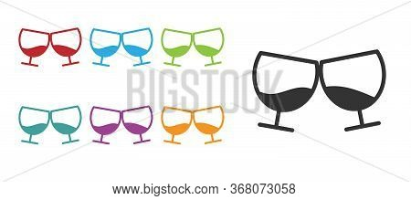 Black Glass Of Cognac Or Brandy Icon Isolated On White Background. Set Icons Colorful. Vector Illust