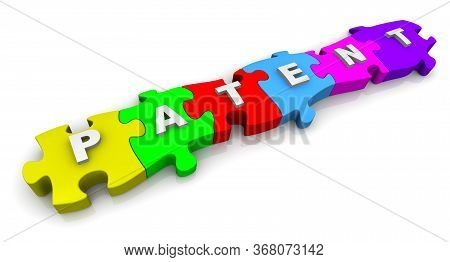 Patent. Puzzles With The Word. The White Word Patent Composed From Labeled By Letters Colorful Puzzl