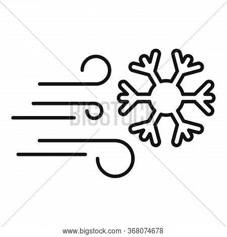 Windy Blizzard Icon. Outline Windy Blizzard Vector Icon For Web Design Isolated On White Background