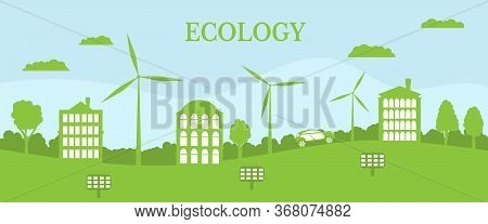 Ecological House And Environment Conservation. Renewable Energy With A Wind Generators And Solar Pan