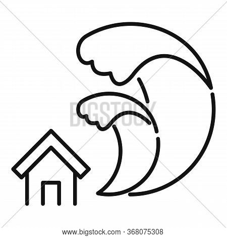 Tsunami Disaster Icon. Outline Tsunami Disaster Vector Icon For Web Design Isolated On White Backgro