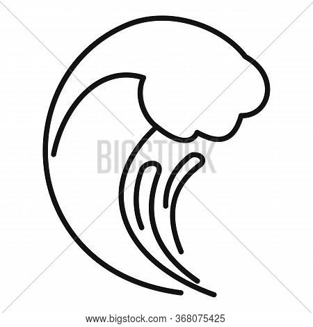 Tsunami Wave Flood Icon. Outline Tsunami Wave Flood Vector Icon For Web Design Isolated On White Bac