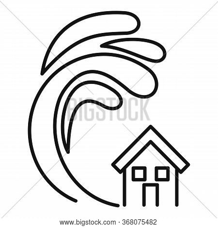 Safety Tsunami Wave Icon. Outline Safety Tsunami Wave Vector Icon For Web Design Isolated On White B