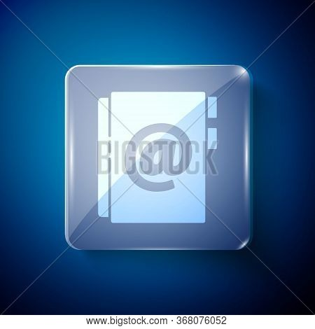White Address Book Icon Isolated On Blue Background. Notebook, Address, Contact, Directory, Phone, T