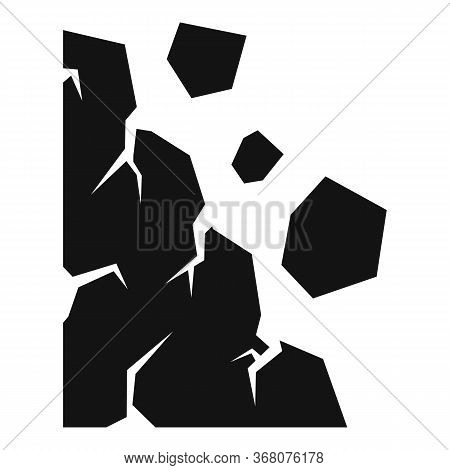 Rockfall Icon. Simple Illustration Of Rockfall Vector Icon For Web Design Isolated On White Backgrou