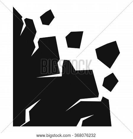 Warning Landslide Icon. Simple Illustration Of Warning Landslide Vector Icon For Web Design Isolated