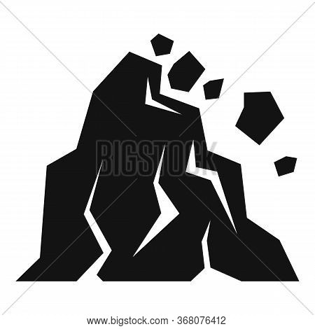 Hill Landslide Icon. Simple Illustration Of Hill Landslide Vector Icon For Web Design Isolated On Wh