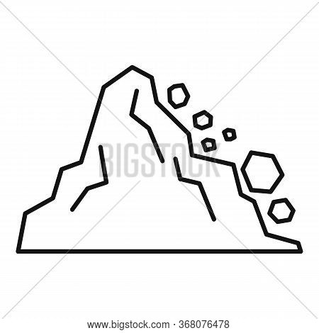 Landslide Icon. Outline Landslide Vector Icon For Web Design Isolated On White Background