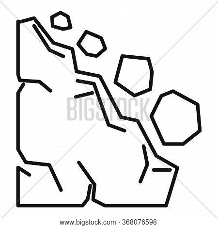 Landslide Place Icon. Outline Landslide Place Vector Icon For Web Design Isolated On White Backgroun