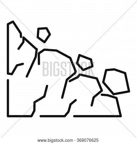 Travel Landslide Icon. Outline Travel Landslide Vector Icon For Web Design Isolated On White Backgro
