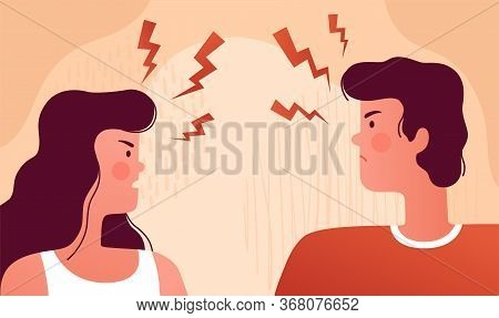 Man And Woman Quarrel And Swear At Each Other. The Psychological Concept Of Family Quarrel, Conflict