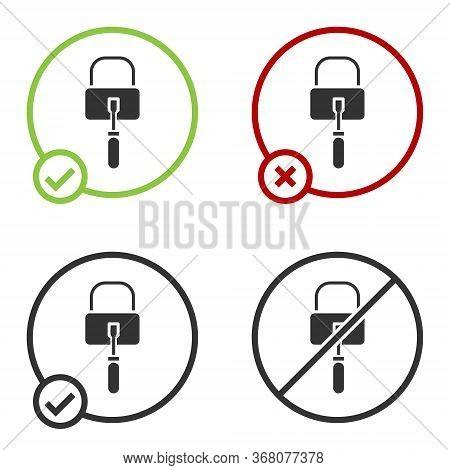 Black Lockpicks Or Lock Picks For Lock Picking Icon Isolated On White Background. Circle Button. Vec