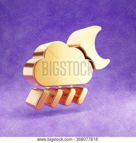 Rainy At Night Icon. Gold Glossy Rainy Cloud And Moon Symbol Isolated On Violet Velvet Background. M