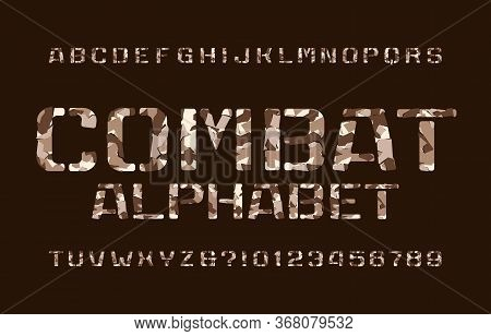 Combat Alphabet Font. Camo Stencil Letters And Numbers On A Dark Background. Vector Typescript For Y