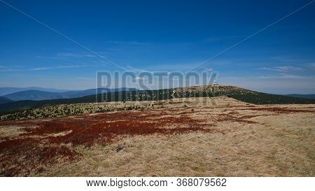 View Of Petrovy Kameny And Praded Transmitter Tower In Jeseniky Mountain Ridge. Czech Republic