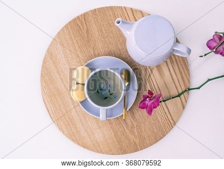 Tea cup earl grey british black tea with teapot and sweet lemon macarons, tabletop serving food drinking at home. with purple lilac leaves and orchids.