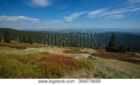 Forested Hilly Landscape With Hazed Valley In The Background And Clouds On A Blue Sky, Jeseniky Moun