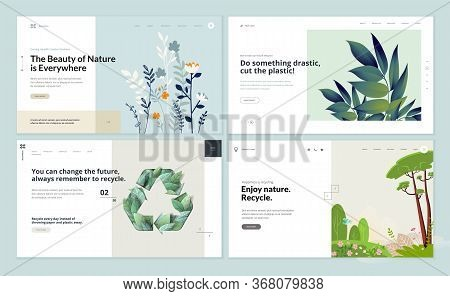 Set Of Flat Design Web Page Templates Of Environment, Ecology, Recycling, Natural Products, Nature.