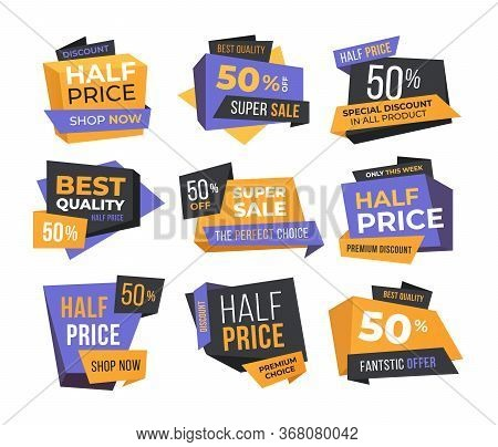 Half-price Sale Flat Labels Set. Special Promo Offer Discount And Fifty Percent Off Sale Banners Iso