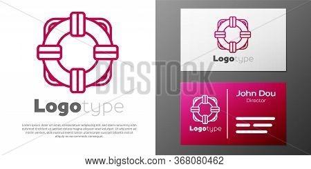 Logotype Line Lifebuoy Icon Isolated On White Background. Lifebelt Symbol. Logo Design Template Elem