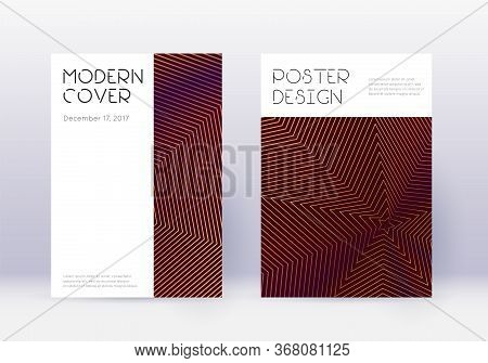 Minimal Cover Design Template Set. Orange Abstract Lines On Wine Red Background. Dazzling Cover Desi