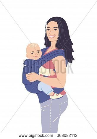 Young Mother Carrying Her Little Child. Smiling Woman And Baby In Ergo Backpack Isolated On White Ba