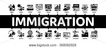 Immigration Refugee Minimal Infographic Web Banner Vector. Immigration Person With Baggage, Passport