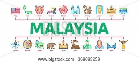 Malaysia National Minimal Infographic Web Banner Vector. Malaysia Flag And Architecture Building, Mo