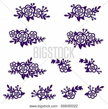 Bouquets of abstract roses and branches. Vector of silhouettes set. Decorative elements for design, greeting card, screen printing, laser and plotter cutting. Design template
