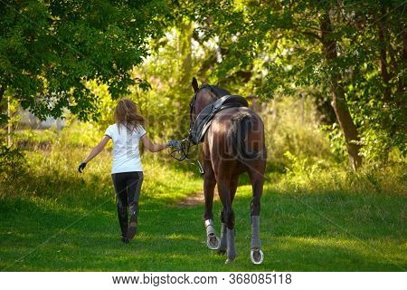 A Young Girl Rider And Her Horse Return To The Stable After Training.