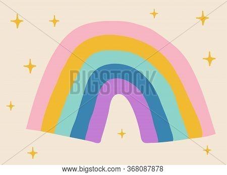 Colored Hand Drawn Rainbow With Yelow Stars Around.