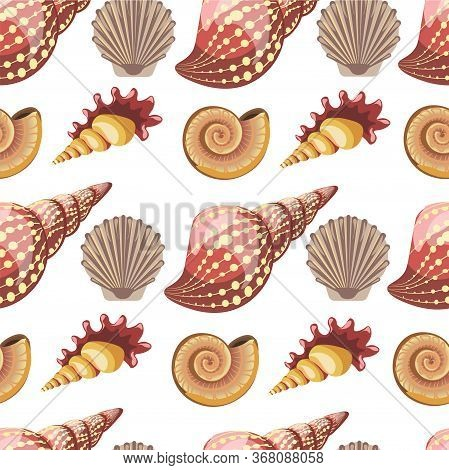 Seashell And Conch, Sealife Animals, Mollusks Seamless Pattern