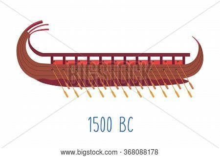 Wooden Ship With Oars, Wood Boat Naval Transport