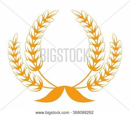 Spikelets Of Wheat Or Barley, Heraldic Icon For Bakery