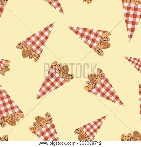 Vector Roasted Almond Nuts In Cute Red Gingham Paper Bags Seamless Pattern Background. Brown Oval Se