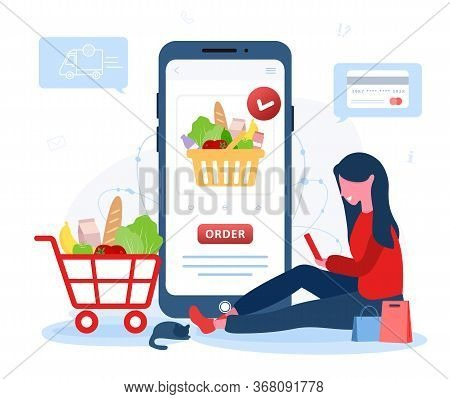 Online Food Order. Grocery Delivery. A Woman Shop At An Online Store. The Product Catalog On The Web