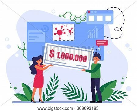 People Winning Grant For Coronavirus Research. One Million Dollars, Prize, Award Flat Vector Illustr